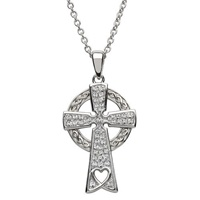 Sterling Silver Celtic Cross with Swarovski Crystals