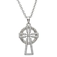 Image for Sterling Silver Celtic Cross with Swarovski Crystals
