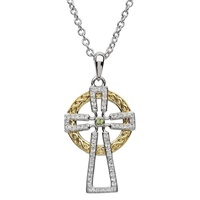 Image for Sterling Silver GP Celtic Cross with Swarovski Crystals/Peridot