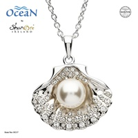 Image for Sterling Silver Shell Necklace with white Crystals and Pearl