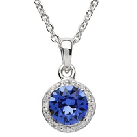 Image for Round Silver Halo Pendant Adorned with Sapphire and White Swarovski Crystals