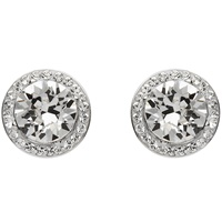 Image for Round Halo Silver Earrings Adorned with Swarovski Crystals