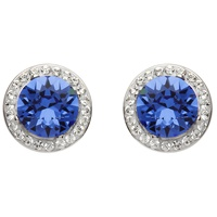 Image for Round Halo Silver Earrings Adorned with Sapphire and White Swarovski Crystals