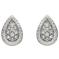 Image for Silver Pear Shaped Earrings Encrusted with Swarovski Crystals