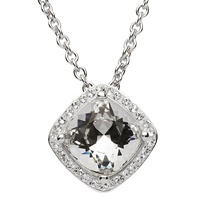 Image for Silver Cushion Shape Halo Pendant Adorned with Swarovski Crystals