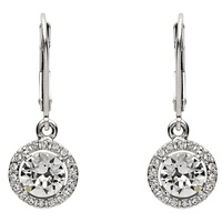 Image for Round Halo Silver Drop Earrings Adorned with Swarovski Crystals