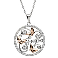Image for Round Silver Hope and Butterfly Pendant Adorned With Swarovski Crystals