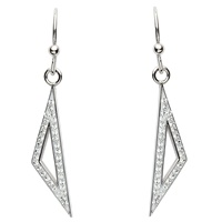 Image for Silver Triangle Shaped Earrings Embellished with Swarovski Crystals