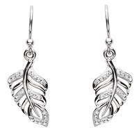 Image for Silver Leaf Style Earrings Adorned with Swarovski Crystals