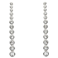 Image for Silver Drop Earrings Adorned with White Swarovski Crystals