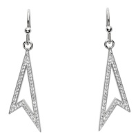 Image for Drop Silver Earrings Adorned with Swarovski Crystal