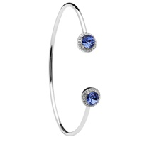 Image for Silver Halo Bangle Embellished with Sapphire and White Swarovski Crystals