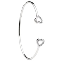 Image for Silver Heart Shape Bangle Design with Swarovski Crystals