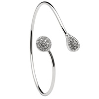 Image for Silver Round Pear Shape Halo Bangle Encrusted with Swarovski Crystal