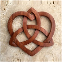 Image for Blue Frogs Handcarved Wooden Celtic Heart and Triquetra