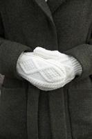Image for Adult Aran Irish Handknit Mittens, Winter White