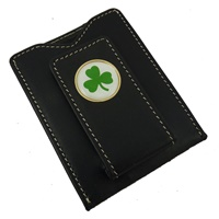 Image for Magnetic Leather Shamrock Money Clip and Credit Card Holder
