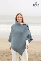 Image for Herringbone Merino Wool 3 Button Aran Poncho Cape, Denim Marl/Mist Marl