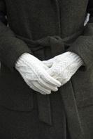Image for Aran Wool Adult Handknit Gloves, Winter White
