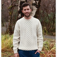 Image for Aran Woollen Mills Traditional IrishSweater, Natural