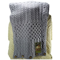 Image for Merino Snood Scarf with Buttons, Soft Grey