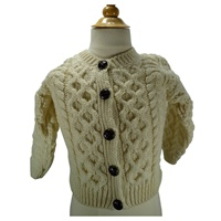 Image for Children's 100% Irish Made Merino Wool Button Cardigan, White