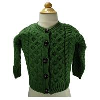 Image for Children's 100% Irish Made Merino Wool Button Cardigan, Kiwi