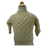 Image for Kids Irish Aran Merino Wool Sweater, White
