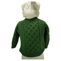 Image for Kids Irish Aran Merino Wool Sweater, Green