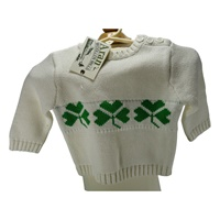 Image for Baby 3 Button Jumper, White and Green Shamrocks