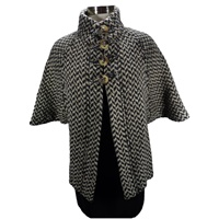 Image for The Rita Cape by Brannigan Weavers Black/Brown Herringbone