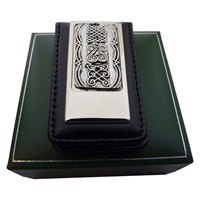 Image for Mullingar Pewter Magnetic Leather Money Clip Celtic