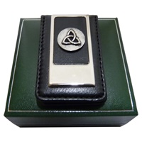 Image for Mullingar Pewter Magnetic Leather Money Clip Claddagh