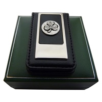 Image for Mullingar Pewter Magnetic Leather Money Clip, Shamrock