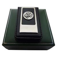 Image for Mullingar Pewter Magnetic Leather Money Clip Shamrock