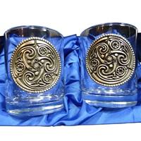 Image for Mullingar Pewter Triskele Whiskey Glass Set