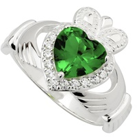 Image for Sterling Silver Large Crystal Heart Claddagh Ring