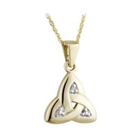 Image for 14K Gold Diamond Trinity Knot Pendant