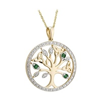 Image for 14K Diamond and Emerald Tree of Life Pendant
