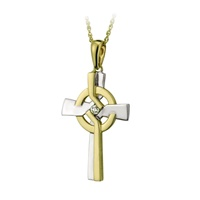 Image for 14K Yellow and White Gold Two Tone Diamond Cross Pendant