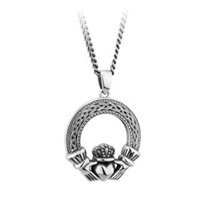Image for Silver Oxidised Heavy Celtic Claddagh Pendant