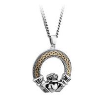 Image for Silver and 10K Oxidised Celtic Claddagh Pendant