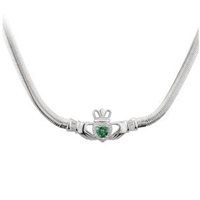 Image for Sterling Silver Green CZ Heart Claddagh Necklet
