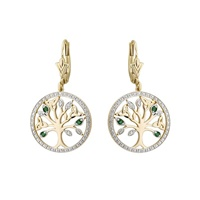 Image for 14K Diamond and Emerald Tree Of Life Earrings