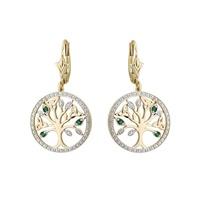 14K Diamond and Emerald Tree Of Life Earrings