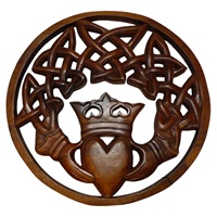 Image for Blue Frogs Handcarved Wooden Claddagh in Circle CM29-3