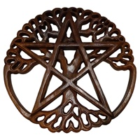 Image for Blue Frogs Handcarved Wooden Tree of Life Double CM16-9