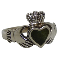 Image for Sterling Silver Connemara Marble Claddagh Ring