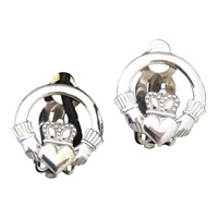Image for Sterling Silver Clip On Claddagh Earrings