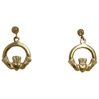 Image for 14k Gold Celtic Claddagh Drop Earrings